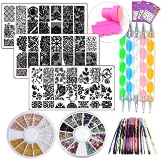 Nail Art Kit Tools 3pc Mandala Flower Nail Stamping Plate, Rhinestones Gold Bead Decorations, Mandala Rock Painting Nail Dotting Pen, Water Nail Decals, Striping Tape Manicure Kits