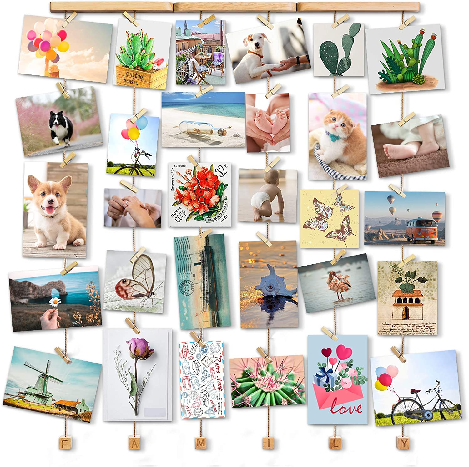 Love-KANKEI Family Picture Frame Collage Picture Frame for Wall Hanging Display 30 Pegs for Mixed Size Picture