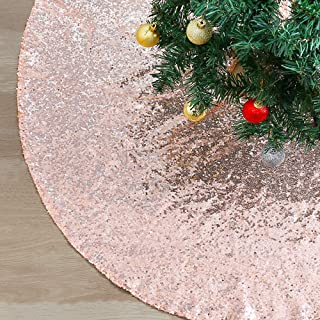 SoarDream Christmas Tree Skirt Rose Gold Sequin Tree Skirt 48inch Round Gorgeous Ornaments Tree Holiday Party Decorations