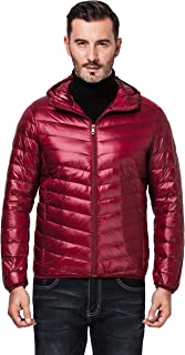 Molodo Men's Winter Packable Lightweight Coat Puffer Down Jacket with Hood
