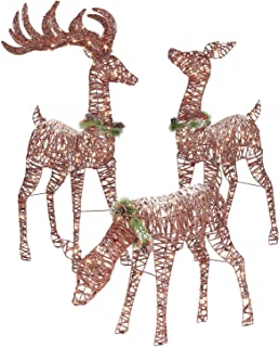 Holiday 3pc Outdoor Reindeer Family Decoration with Pre Lit Clear Lights Doe Deer Buck Rattan PVC