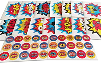 ADJOY Large Superhero Party Stickers - Superhero Sign Cutout Stickers - Superhero Party Supplies
