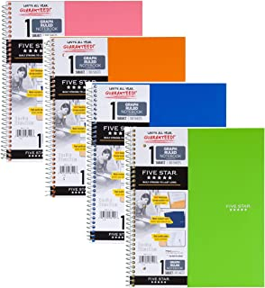 """Five Star Spiral Notebook, 1 Subject, Graph Ruled Paper, 100 Sheets, 11"""" x 8-1/2"""", Color Will Vary, 4 Pack (06190) - Bundl..."""