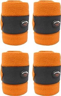 CHALLENGER Horse Tack Grooming Leg Polo Wrap Set of 4 Soft Fleece Orange 95R07