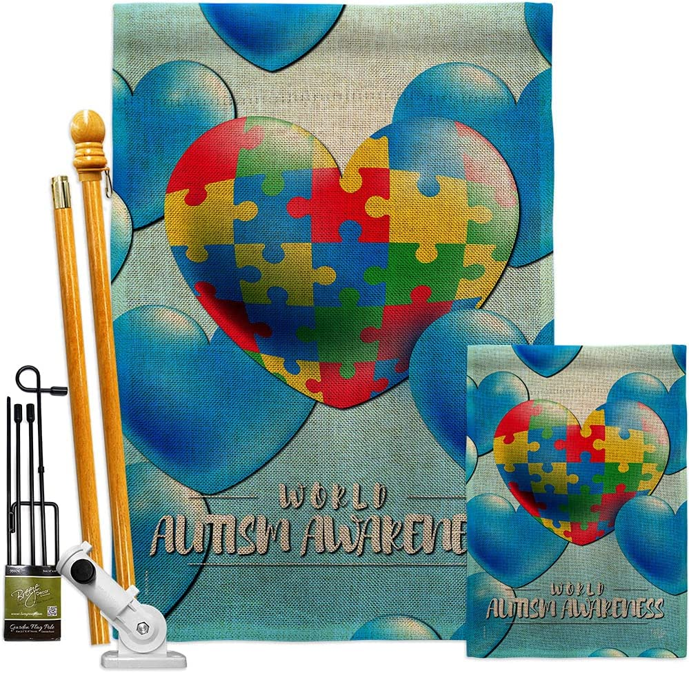 Ornament Collection Heart Autism Max 83% OFF Burlap Flag Kit Garden Su Spring new work House