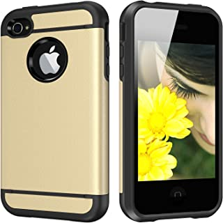 iPhone 4S Case, iPhone 4 Case, CHTech Dual Layer Hybrid Slim Armor Case with Solid PC and Shockproof TPU for iPhone 4 / 4S (Royal Gold)
