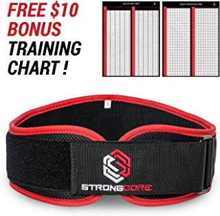 Weightlifting Belt - with Free Bonus Training Chart - Premium Quality Weight Lifting Belt for Powerlifting, Weight Lifting and Crossfit