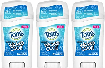Tom's of Maine Aluminum-Free Natural Wicked Cool Teen Boys Deodorant, Natural Deodorant, Deodorants, Freestyle, 2.25 Ounce, 3-Pack