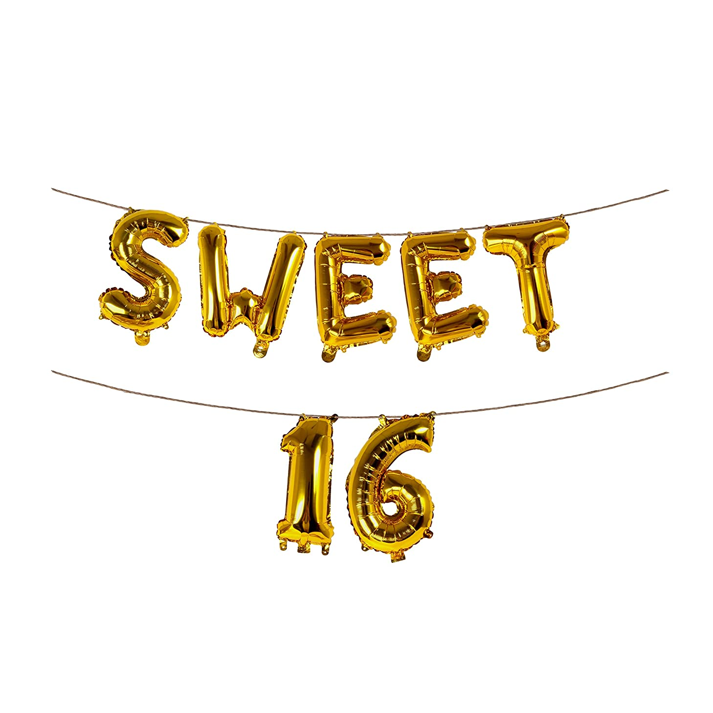 Sweet 16 Gold Banner Birthday Party Bunting Decorations 16 Inch Foil Letter Balloons Garland