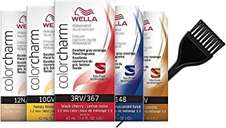 WeIla COLOR CHARM PERMANENT Liquid Haircolor (w/Sleek Tint Brush) Excellent Gray Coverage, Floral Fragrance, 1:2 Mix Ratio Hair Color DYE (911 / 9N VERY LIGHT BLONDE)