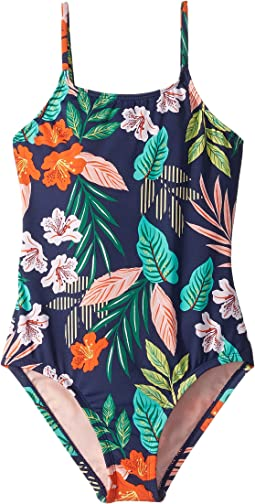 Hibiscus Jungle One-Piece (Big Kids)