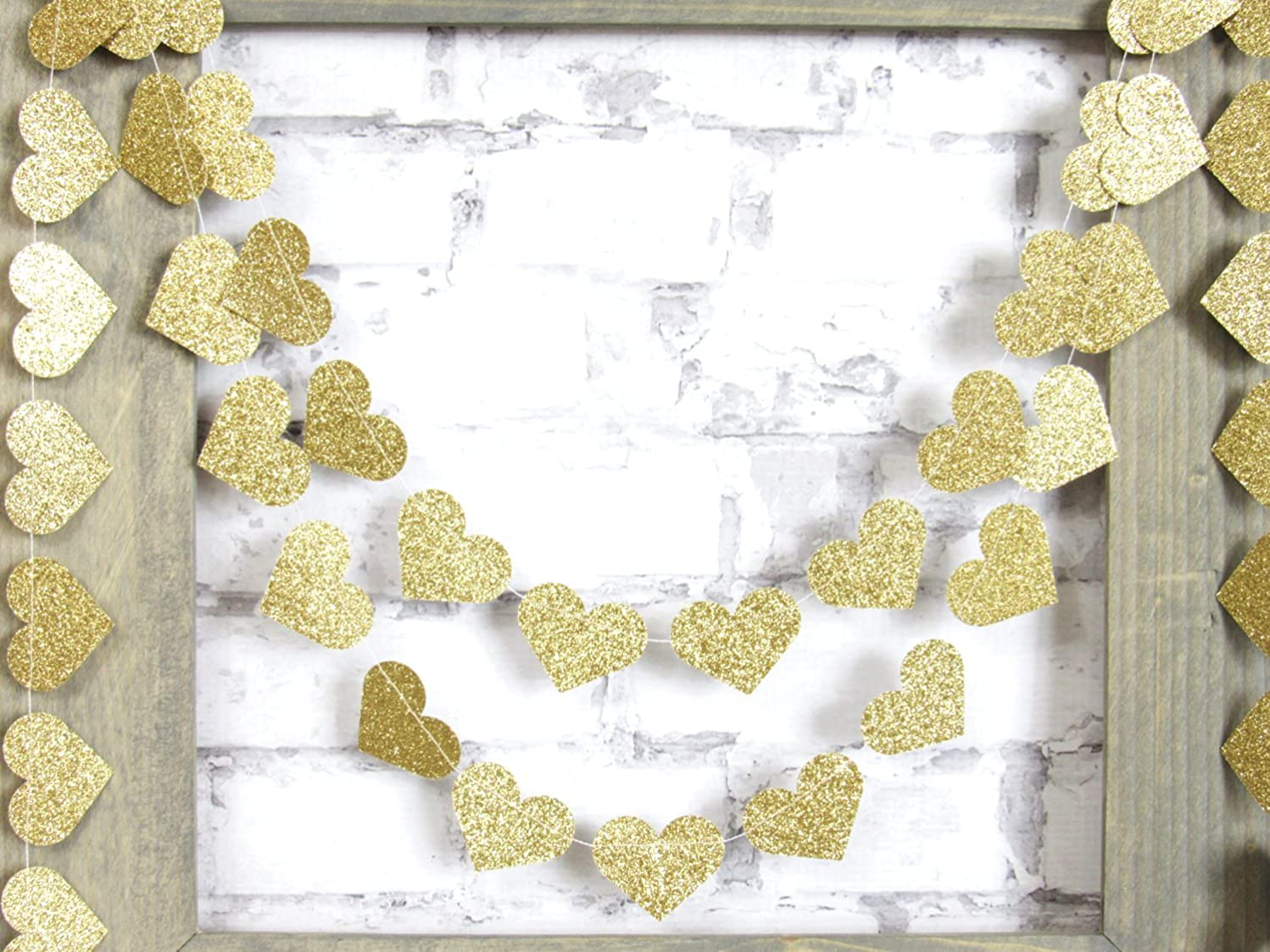 My lifestyle 4-Pack,Glitter Gold Heart Garland, Twinkle Star Garland Christmas Garland, Party Garland, Party Decoration,Home Decor,Christmas Decor, Gold Baby Shower (4 inch in Diameter, 13 Feet)