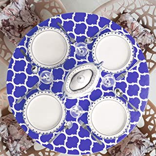Home One Fitted Round Vinyl Tablecloth with Elastic Edge and Flannel Backing - Waterproof Plastic Table Cover for Outdoor, Patio, Kitchen and Dining Room - Arabic Mosaic - (Large 45-56, Blue)