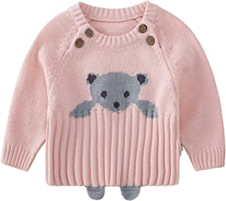 pureborn Baby Boys Girls O-Neck Solid Toddler Children Sweaters Knitted Pullover Coats Outwear Sweatshirt 0-4 Years