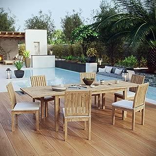 Modway EEI-3207-NAT-WHI-SET Marina Premium Grade A Teak Wood Outdoor Patio Dining Furniture Set, 7 Piece, Natural White