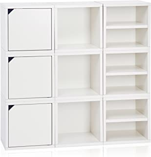Way Basics 9 Modular 3-in-1 Shelf Connect Cube Storage System, White (Tool-Free Assembly and Uniquely Crafted from Sustainable Non Toxic zBoard paperboard)
