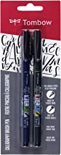 Tombow 62038 Fudenosuke Brush Pen, 2-Pack. Soft and Hard Tip Fudenosuke Brush Pens for Calligraphy and Art Drawings