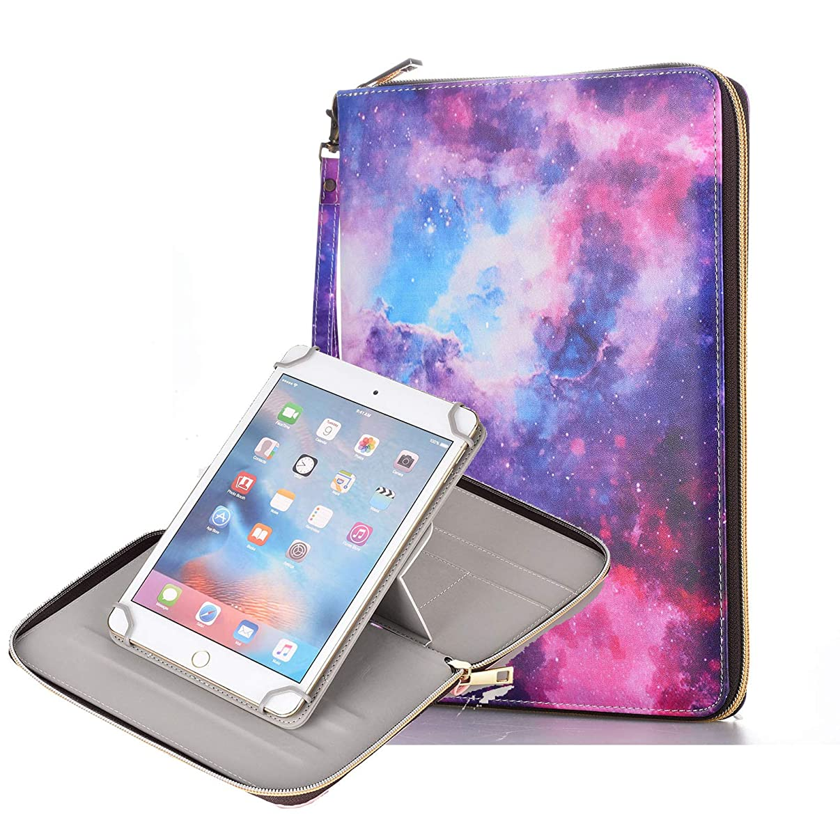Anvas Universal Case for 9.7-10.1 Inch Tablet, Synthetic Leather 360 Rotating Standing Document Pocket Folio Portable Wallet Case for All 9.7 10.1 10.5 Inch Tablet,Galaxy