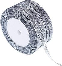Gejoy 5 Rotoli 0.24 Pollici Nastri Glitter Nastri Metallici per Artigiani Regali Avvolgimento Decorazioni Fai da Te Craft Arti (Nastri d'Argento)