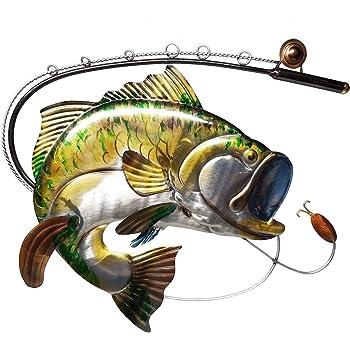 "24"" Metal Fish Sign Fishing Blue Gill Bass Catfish Pole Vintage Lake House Cabin"