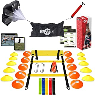 goalin Speed & Agility Training Set - Set of Premium Agility Ladder, 10 Disc Cones, Running Parachute, Jumping Rope, Resis...