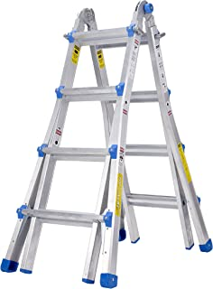 TOPRUNG Model-17 ft. Aluminum Extension Multi-Purpose Ladder with 300 lb. Load Capacity..