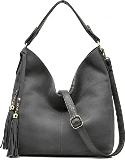 Realer Hobo Bag for Women Tote Leather Purse Crossbody Bag Large (Gray)