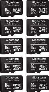 Gigastone マイクロSDカード 16GB Micro SD Card 10個セット SDアダプタ付 ミニ収納ケース付 カードリーダー付 SDHC U1 90MB/S 高速 メモリーカード Class 10 UHS-I フルHD 動画