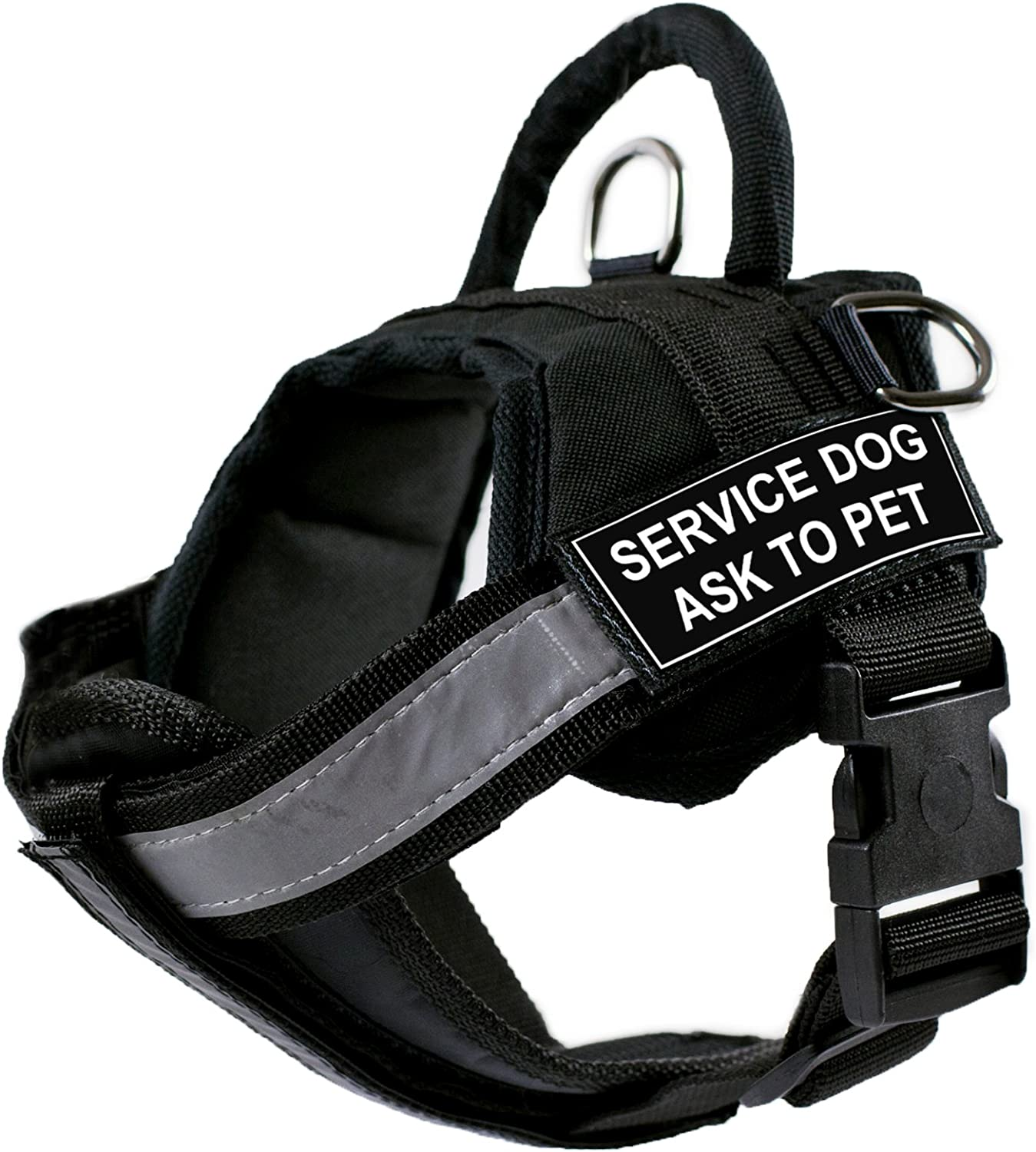 DT Works Harness with Padded Reflective Chest Straps, Service Dog Ask To Pet, Black, XSmall  Fits Girth Size  21Inch to 26Inch