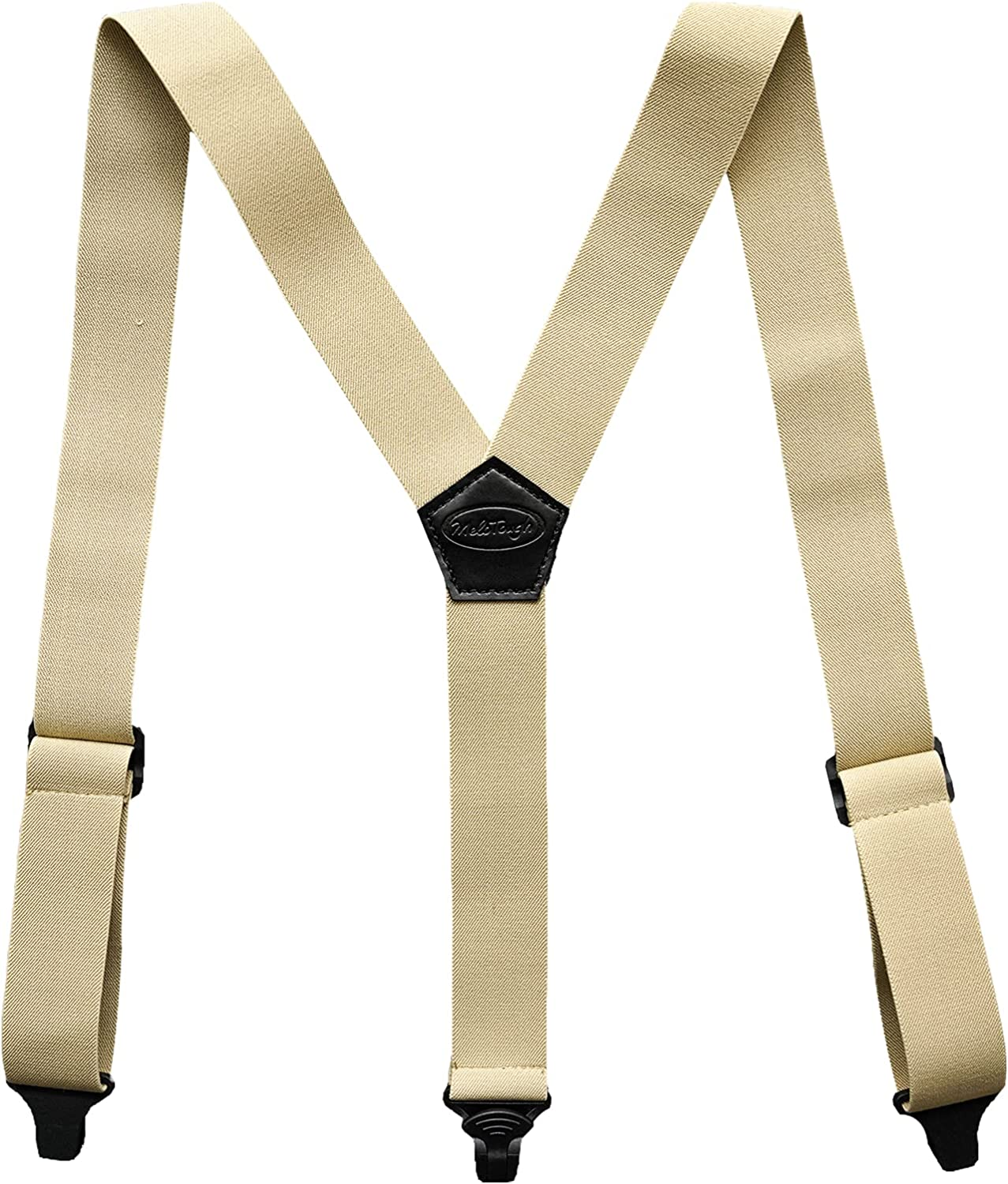 Melo Tough Y back suspenders airport friendly Suspenders,NO buzz with Plastic Clip 1.5 inch fully elastic braces