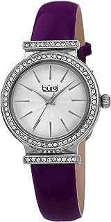 Swarovski Crystal Studded Bezel Watch - Sparkling Design Fine Guilloche Pattern Dial - Genuine Patent Leather Black Strap - BUR230