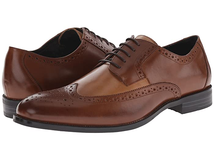 Men's 1950s Shoes Styles- Classics to Saddles to Rockabilly Stacy Adams Garrison Wingtip Oxford CognacTaupe Mens Lace Up Wing Tip Shoes $47.88 AT vintagedancer.com