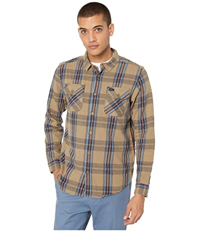 RVCA Reverberation Flannel Long Sleeve Button Up Shirt (Wood) Men