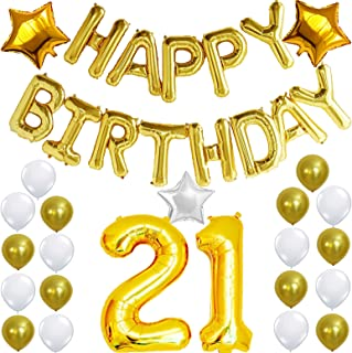21st Birthday Decorations Party KIT - Happy Birthday Balloon Banner, Number 21 Balloon Mylar Foil, Gold White Latex Ballon, Perfect 21 Year Old Party Supplies Free Printable Bday Checklist