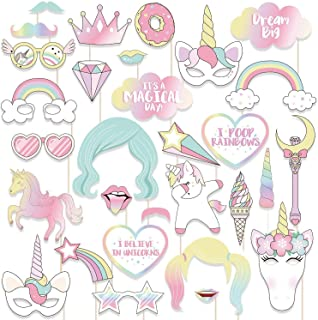 29Pcs/Set Photo Props Birthday Party Unicorn Photo Booth Props Unicorn Party Supplies Funny Rainbow Unicorn Pegasus Photo ...