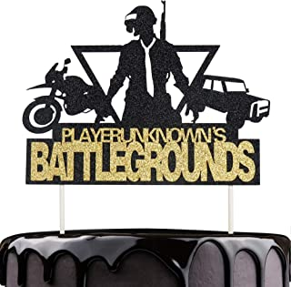Artczlay Video Game Cake Topper PUBG Game Theme Party Cake Decoration Car Motorcycle Black Gold Flash Cake Topper