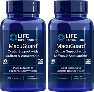 Life Extension MacuGuard 90 softgels (Pack of 2), Ocular Support with Saffron & Astaxanthin Eye Vitamins