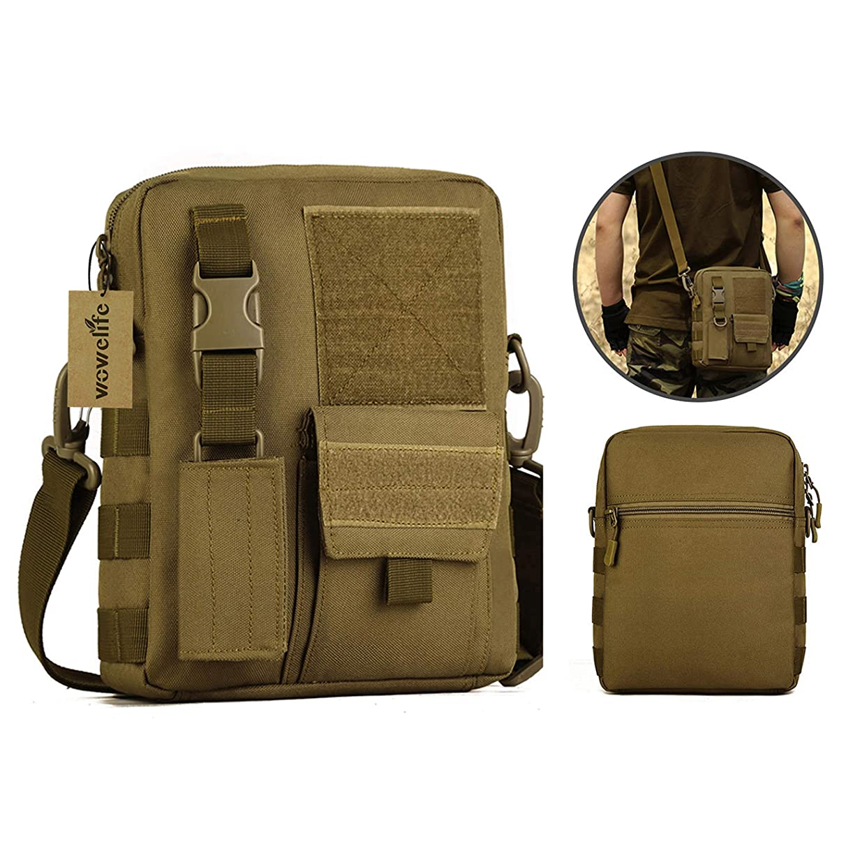 Wowelife Small Canvas Messenger Bag Small Tactical Bag Crossbody Casual Weekend Pack with Shoulder Strap for Hiking and Traveling