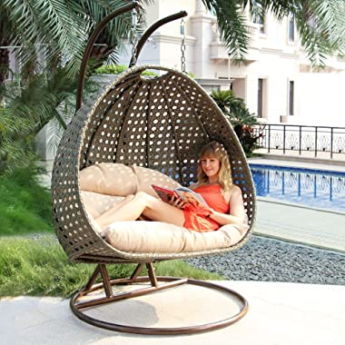 Island Gale Luxury 2 Person Outdoor Patio Hanging Wicker Swing Chair ( X-Large, Latte Rattan/Latte Cushion) Frame Color: Bron