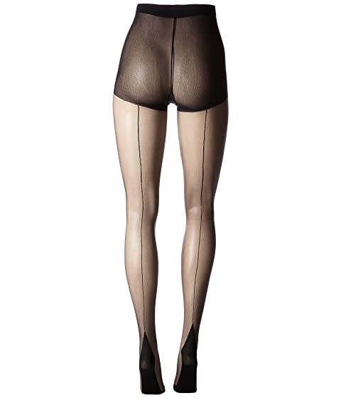 Seamed Stockings, Nylons, Tights Pretty Polly - Nylons 10 Denier Backseam Gloss Tights Black Hose $15.00 AT vintagedancer.com