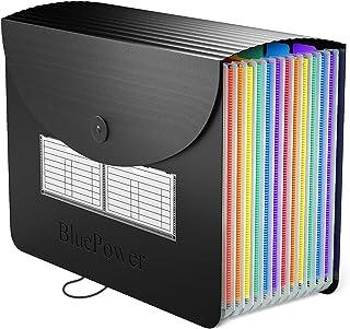 BluePower Expanding File Organiser A4, 12 Pochettes Multicolore Portable Classeur de Classement, Format A4 Classeur Docume...