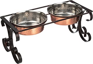 Neater Pet Brands Normandy and Lorelei Wrought Iron Feeders with 64 oz Hammered Bowls