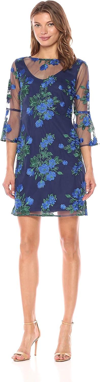 Chetta B Womens Embroidered Bell Sleeve Dress Dress