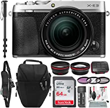 Fujifilm X-E3 Mirrorless Digital Camera w/XF 18-55mm Lens (Silver) with 64GB and Xpix Cleaning Kit Deluxe Bundle