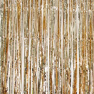 UTOPP 2 Pack Foil Fringe Curtains Photo Backdrop Party Decorations, 3ft x 8 ft Shiny Metallic Tinsel Party Door Curtain Photo Booth Props for Birthday Wedding Party Decor (gold champagne)