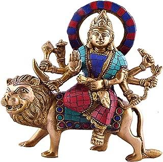 CraftVatika Durga Sitting on Tiger- Rare Hindu Goddess Maa Kali Vaishno Devi Brass Statue