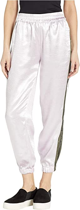 Satin Track Pants with Logo Side Stripe