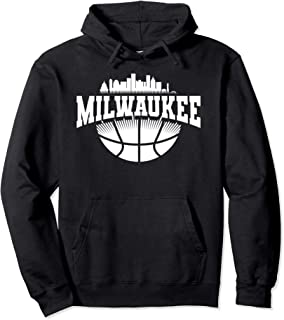 Milwaukee Skyline Cityscape Downtown Basketball Souvenirs Pullover Hoodie