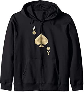Ace of Spades - Playing Card Halloween Costume Glam Zip Hoodie