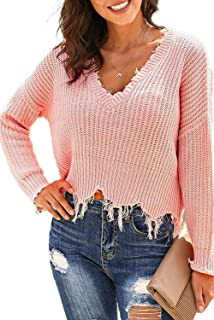 Urchics Women's Long Sleeve V Neck Knit Pullover Sweaters Loose Ripped Crop Tops